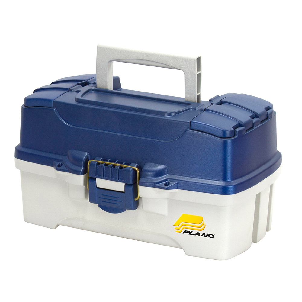 Plano 2-Tray Tackle Box w/Dual Top Access – Blue Metallic/Off White