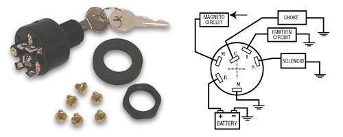 Sierra Marine 3 Position Magneto Ignition Switch Off-Run-Start Push to Choke