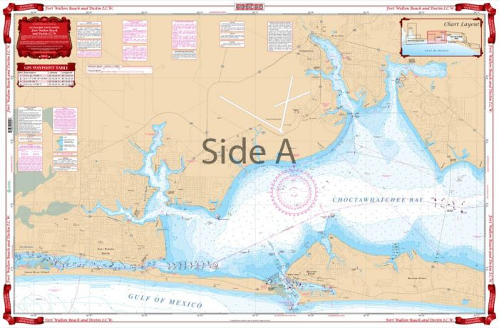 Waterproof Charts Fort Walton Beach to Destin Intracoastal Waterway I.C.W.,  Florida Nautical Marine Charts
