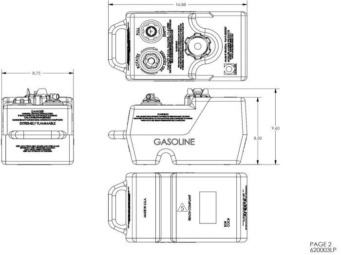 Moeller 620003LP 3 Gallon Portable Fuel Tank