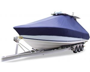 2000-2018 BOSTON WHALER 250 (OUTRAGE) WITH TWIN ENGINE BOW ROLLER AND HADRTOP Custom T-Top Boat Cover by Taylor Made®