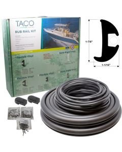 "Taco Marine 1-7/8""x1-1/16""x50' Black Flexible Vinyl Rub Rail Kit, Black Insert - Taco"