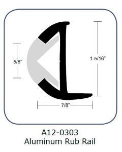 "Taco Marine Taco Rub Rail 1-5/16"" Aluminum 12'"
