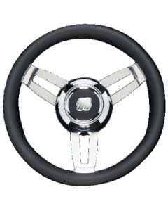 Uflex Steering Whl Blk Poly Chrome