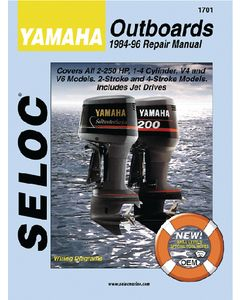 Seloc Yamaha Mercury Mariner Outboards 2.5-225HP 1995-2004 Repair Manual 1-4 Cylinder, V4, V6, 4 Stroke, Includes Jet Drives