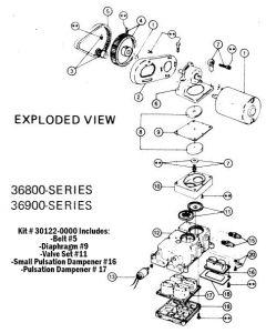 Jabsco PAR Service Kit for 36800, 36850, 36970