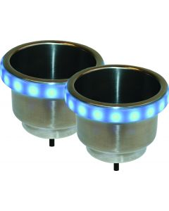 Seasense, Stainless Steel Cup Holders With LED Accent Bezels, Recessed Cup Holders