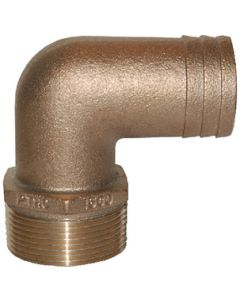 "Groco 90 Degree Pipe To Hose Fitting, Standard Flow, 1"" Npt X 1"" Hose Id"
