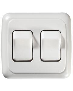 RV Designer Switch-Wall Dbl On-Off White