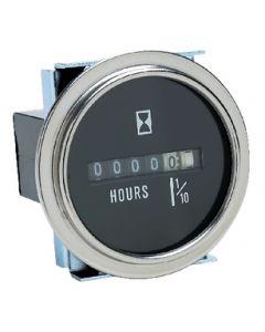 Seachoice Engine Motor Hour Meter, Round, Chrome Bezel