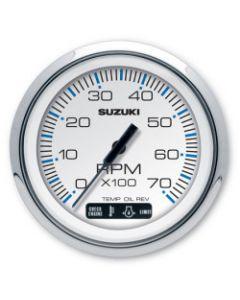 """Suzuki 4"""" White Tachometer with Monitor Functions 99105-80101"""