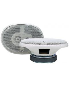 PolyPlanar 3-Way Oval Platinum Marine Speakers,  6 X 9 ,  White,  400w