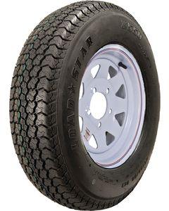 Loadstar Kenda KR03 Radial Tire w/ Spoke Steel Wheel, White w/ Stripe, ST205/75R-15, LRC, 5 on 4.5