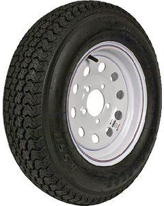 Loadstar Kenda KR03 Radial Tire w/ Mod Steel Wheel, White w/ Stripe, ST205/75R-15, LRC, 5 on 4.5