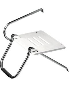 Whitecap Industries Outboard White Poly Platform With Ladder Boat Swim Platforms