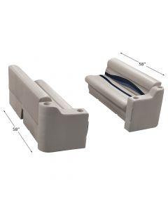 """Wise WS14027 Premier Pontoon 50"""" Bench & Arm Rest Set"""