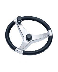Ongaro Schmitt Evo Pro 316 Cast Stainless Steel Steering Wheel w/Control Knob - 15.5 Diameter