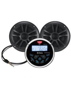 Boss Audio MCKGB350B.6 Combo - Marine Gauge Radio w/Marine Antenna & 2 6.5 Speakers - Black