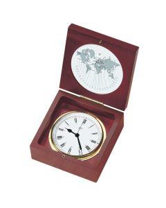 Barigo Quartz Ship Clock in a Box - Brass & Mahogany - 4 Dial