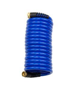HoseCoil 15' Blue Self Coiling Hose w/Flex Relief - *Case of 6*