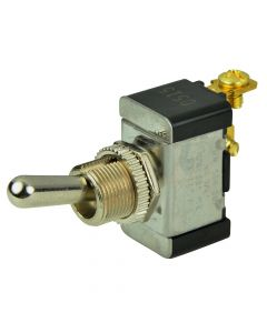 BEP SPST Chrome Plated Toggle Switch -OFF/(ON)