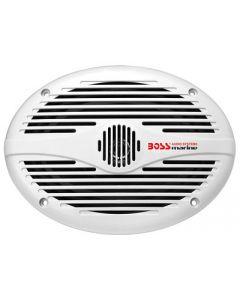 """Flush Mount Boss Audion MR690 6"""" x 9"""" White Oval Marine Speakers"""