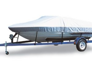 "Carver® Flex-Fit Boat Cover - Fits 16'-19' Centerline Length x 96"" Beam Width - Haze Gray Color"