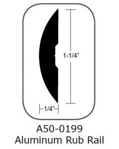 Taco Marine Taco Rub Rail 1-1/4''x 1/4'' Solid Back Aluminum Drilled 12'