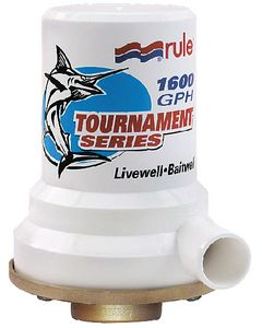 "Rule Tournament (Bronze Base) 1600 GPH Livewell Aerator Pump; 1"" Dia. Inlet, Single 1-1/8"" Dia. outlet"