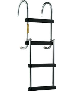 4 Step Removable Folding Boarding Ladder - Garelick Pontoon Ladder with Stainless Steel Shur-Loc Catch Mounting Hardware
