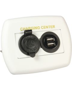 JR Products 12V/Usb Charging Center Wht