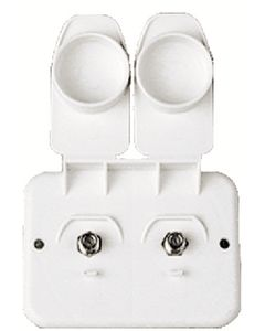 JR Products Cable/Cable Plate Pol.Wht - Dual Cable Tv Plate
