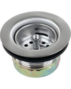 JR Products 1-1/2In Lvtory Snk Strnr Chrom - Strainer W/Push-In Basket