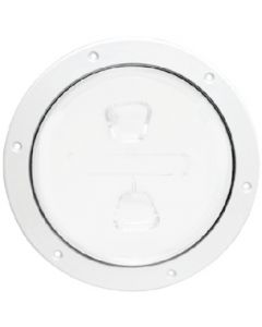 Beckson 8 Smooth Center Screw-Out Deck Plate - White