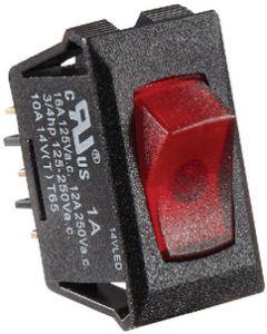 RV Designer Switch-Ill Rocker 10A Blk W-Rd