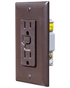 RV Designer Gfci Outlet-Dual W/Cvr Brn