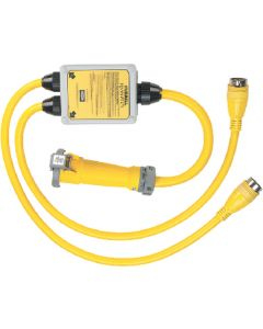 "Hubbell YQ100PLUS Yellow Intelligent ""Y"" (1) 100A 125V/250V Female to (2) 50A 125V/250V Male Adapters"