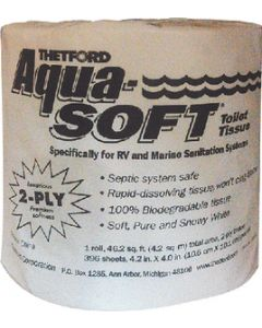 Thetford Aqua Soft Single Roll2 Ply - 2-Ply Rapid-Dissolve Aqua-Soft Toilet Tissue