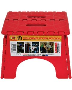 Step-9In Plastic Folding Red - Folding Step Stool