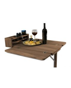SeaTeak Cockpit Table w Folding Leaves & Four Drink Holder