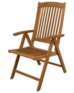 SeaTeak Avalon Folding 5-Position Deck Chair w/arms- Oiled Finish