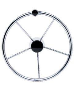 "Seachoice Destroyer 15"" Steering Wheel, Stainless Steel w/ turning knob"