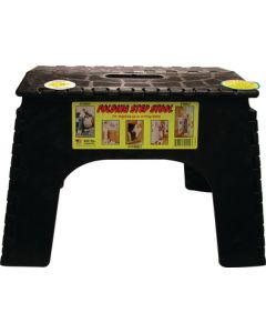 "B & R Plastics Inc 12In Step Stool Black - Oversized 12"" Folding Step Stool"