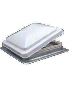 White Roof Vent 12V W/Fan - Standard Mount Metal Base Vent