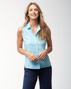Tommy Bahama Women's Sea Glass Breezer Sleeveless Linen Shirt