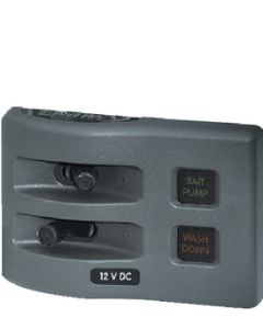 Blue Sea Systems PANEL WD 12V FUSED 2 POS GRAY