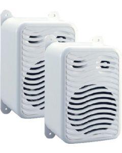 PolyPlanar Gunwale Mount Speakers, White, Pair