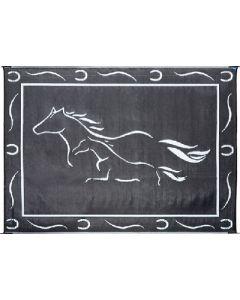 Mat-Horses 8'X11' Black-White - Reversible Mats, Themed
