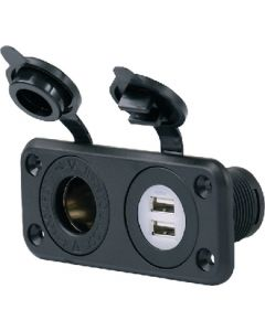 Receptacle-Combo Dual Usb/12V - Deluxe Dual Usb Charger & 12V Receptacle