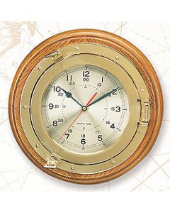 "High Shine Porthole Clock with 13 1/4"" Base, Lacquer Coating, 11 1/2"" Diameter"